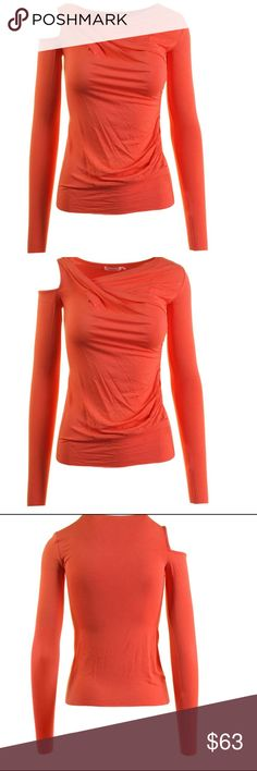 BAILEY 44 Orange Asymmetrical Cold Shoulder Top NEW WITH TAGS.  Bailey 44  Orange Asymmetrical Long Sleeve Pullover Top Size: MEDIUM  Retail: $125.00  Bust Across: 17 1/2 Inches 94% Rayon/6% Spandex 412B529 Bailey 44 Tops