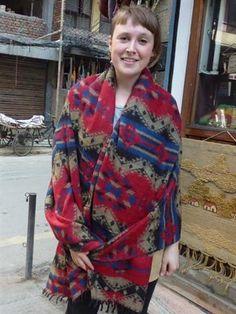 Stunning patterns make up this shawl. Made in the Kathmandu valley of Nepal #shawls #himalayanshawls #hippieclothing #bohemianclothing
