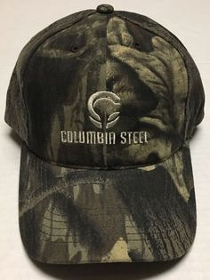 afee3917e31 Columbia Steel Hat Portland Oregon Baseball Cap Camo Hunting OR Iron Hunter  Hunt  Graffiti