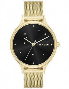9cd40a82585 Skagen Womens Starry Starry Night Anita Watch - Gold-Tone - Black Dial -  Mesh