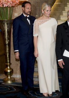 King Harald and Queen Sonja of Norway, Crown Prince Haakon and Crown Princess Mette-Marit of Norway attended the banquet in honour of the 2015 Nobel Peace Prize Laureates at the Grand Hotel