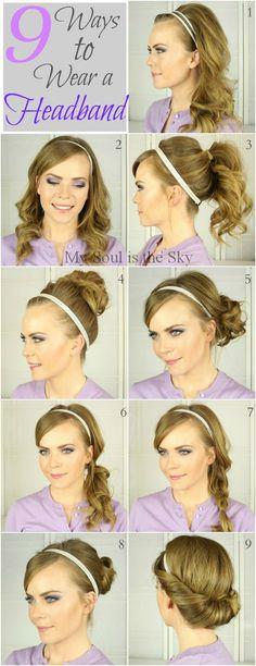 8 Ways to Wear a Headband  http://www.mysoulisthesky.com/2013/11/9-ways-to-wear-headband.html?m=1