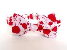 Blood Splatter Bow Tie White Self Tie Red White Horror Film Bloody Bowtie Wedding Boy Men Extra Long Freestyle Adjustable Accessory Goth Tie by JohnnieBlueBowTie on Etsy https://www.etsy.com/listing/242212312/blood-splatter-bow-tie-white-self-tie