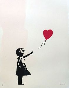 Banksy, «Girl with Balloon», 2004. Banksy street art.