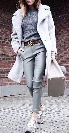 #winter #outfits gray fleece coat