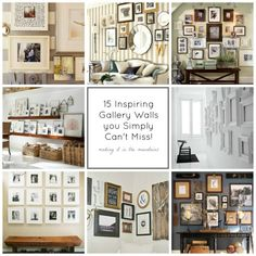 15 Inspiring Gallery Walls - this is an awesome collection of gallery walls, in so many different styles and designs!  This is a great way to dress up your space and show off your creativity for very little money!