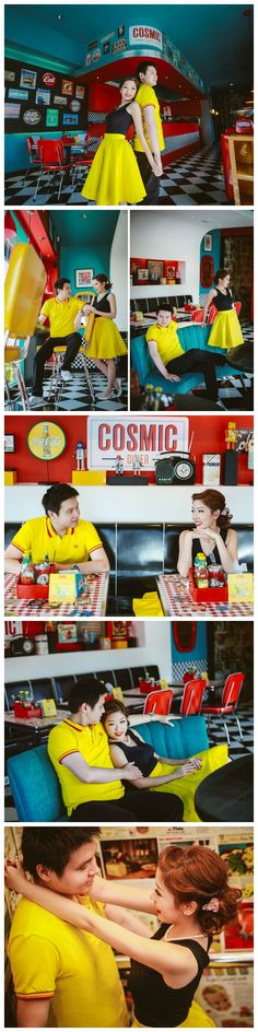 Love the colors and setting! | Retro American diner prewedding theme | Maxtu Photography on OneThreeOneFour | www.onethreeonefour.com
