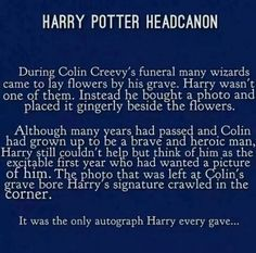 Harry Potter Headcanon: Colin Creevey's funeral Not many things can tear ms up like this