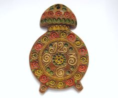 Spanish Pottery Clock Art Piece Wall Hanging by by TheHiddenGrove
