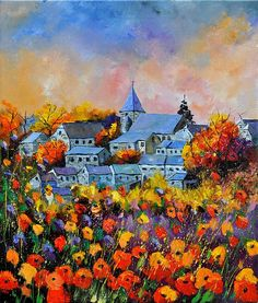 Autumn in Awagne Painting by Pol Ledent - Autumn in Awagne Fine Art Prints and Posters for Sale Saatchi Online, Thing 1, Impressionism Art, Sale Poster, Fall Flowers, Flowers Nature, Landscape Paintings, Oil Paintings, Landscape Art