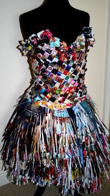 Magazine Dress By Gemma Brown Reuse Material: Paper Newspapers and Magazines   A dress made from recycled objects such as, old material, magazines and old buttons