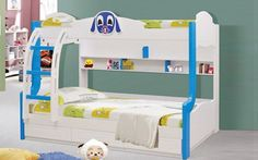 """Bunk Bed Model 2026 Puppy  Outer Dimensions(approx): 79""""x50""""x62""""  Dimensions: Twins bed:  Upper mattress 75""""x30"""" Lower mattress 75""""x40""""  Colour Options 1) Blue and White 2) Pink and White  Single pull out drawer at the bottom. Made against order only.  Price : Rs.56,200/-  Mattress is extra. Please email for prices. Please confirm for exact delivery time. visit http://kidsfurnitureworld.in/bunk-beds.html"""