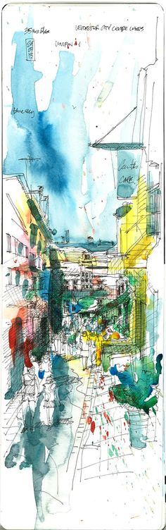 Eugene Sellors - Leicester town, sitting in a cafe wasting time, unipin 0.1 on moleskine and watercolour