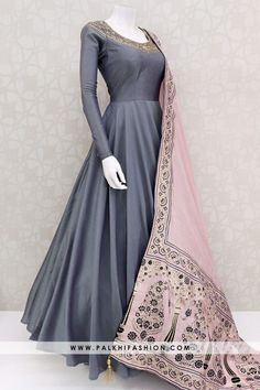Gorgeous Deep Grey Soft Silk Elegant Outfit With Attractive Dupatta : Deep grey silk indian outfit featuring petite stone,cutdana & kundan work.Contrast light pink soft art silk dupatta with applique & embroidery work Indian Dresses Online, Indian Gowns Dresses, Indian Fashion Dresses, Dress Indian Style, Indian Designer Outfits, Indian Outfits, Gowns Online, Frock Fashion, Flapper Dresses