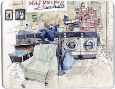 """Will Freeborn. Majestic Laundrette. """"If its cold outside, laundrettes make great places to draw with their comfy seats and warmth from all the machines."""" #art #journal #laundry #sketch #illustration #drawing"""