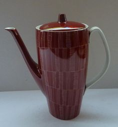 Very Stylish Polish CHODZIEZ Porcelain Hand Painted Tall Coffee Pot, c 1955 - 1960. Red with Incised Abstract LInes