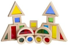 """Jr. Rainbow Block 20 Piece Set by Guidecraft. $17.71. Wt: 1.8lb. Dimensions: 2"""" h x 8"""" w x 8"""" l. Smooth hardwood frames with inset. 20 piece set. For ages 2+. JR. RAINBOW BLOCKS - 20 Piece Block SetAn adventure in color and light! One-third smaller than unit block size, Jr. Rainbow Blocks are a new challenge in creating structures and extending traditional block play. Smooth hardwood frames with inset, colorful, transparent acrylic windows are also ideal for color explo..."""