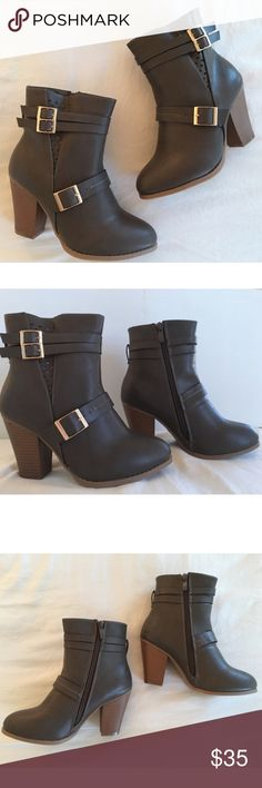 Sale❣️5⭐️Dark Grey Buckle Laser Cut Bootie HERE!! Dark Grey Buckle Laser Cut Bootie. Has zipper on the inside, Vegan Leather, New in Box.   No Trades.  Price is Firm Unless Bundled.  BUNDLE 2 items 10% Off 3 Items 15% Off. Glamvault Shoes Ankle Boots & Booties