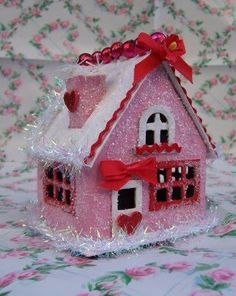 SaturdayFinds - Vintage-Inspired Gifts, Timeless Treasures and More!: GLITTER PINK VALENTINE HOUSES and MORE