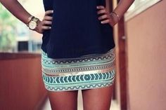 Tribal  pencil skirt with solid top