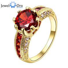 고급스러운 붉은 보석 웨딩 약혼 액세서리 골드 도금 여성 반지 파티 새로운 (jewelora ri101653)