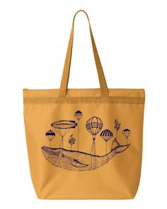 Summer WHALE Parachute Balloon Vintage Beach Tote by FreeBirdCloth, $13.00