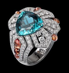 Platinum, one 6.89-carat blue tourmaline, cabochon-cut yellow sapphires, brilliants by CARTIER