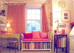 I want this in my apartment. LOVE the pink curtains and lighting! Definitely want the window bed/bookcase!