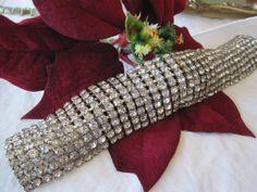 Vintage Wide Rhinestone Bracelet by VintagObsessions on Etsy, $75.00