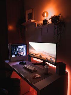 Best Gaming Setup, Gaming Room Setup, Pc Setup, Computer Desk Setup, Bedroom Setup, Home Office Setup, Game Room Design, Gamer Room, At Least