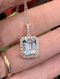Beautiful Aquamarine and Diamond Necklace - Deep breaths, it's a necklace! We don't see many necklace in these parts, but when we do, they - Aquamarine Pendant, Aquamarine Jewelry, Diamond Jewelry, Gemstone Jewelry, Diamond Necklaces, James Jewelry, Fine Jewelry, Jewellery, Sapphire Earrings