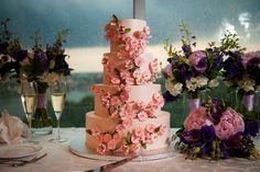 Pink Cherry Blossom Wedding Cake for a Key Bridge Marriott Wedding in Arlington VA | Kelly Ewell Photography