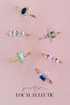 New in, dainty rings designed exclusively for Local Eclectic by Girls Crew and inspired by the colors of the Descanso Gardens in LA. Cute Jewelry, Jewelry Box, Jewelry Rings, Jewelry Accessories, Fashion Accessories, Jewelry Making, Jewlery, Estilo Indie, Accesorios Casual