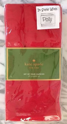 SET OF FOUR 4 NAPKINS KATE SPADE NY ALL THE TRIMMINGS CRANBERRY RED NEW #KateSpade