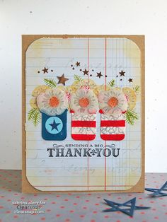 Tutorial for this pretty 4th of July Thank You Card by Sabrina Alery over at blog.clearsnap.com.