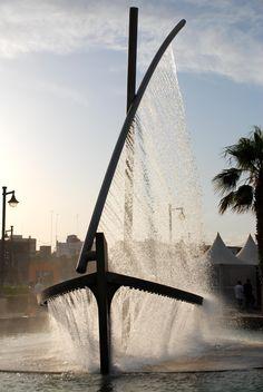 "El barco de Agua ""Water Boat"" fountain in Valencia's Malvarrosa Beach, Spain"