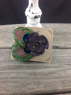 Purple Peacock Feather Clip by flapperdesign on Etsy, $10.00