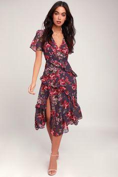 7c71e547054 Pick Me Up Purple Floral Print Ruffled Midi Dress