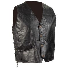 """Mens Solid Leather /""""Live to Ride/"""" Eagle Vest w 9 Patches Side Lace"""