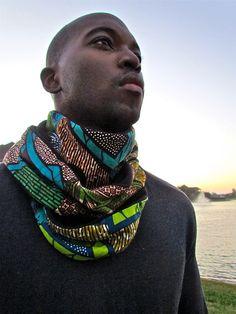 African Print Mix Winter Scarf 0013Black by ifenkili on Etsy, $30.00