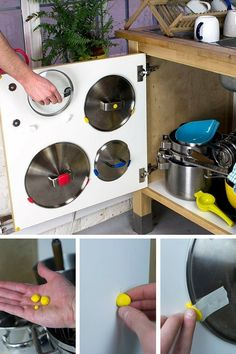 Organise Messy Cupboards With Sugru. at Last - a Good Solution for Pot Lids!: 6 Steps (with Pictures) Home Organisation, Kitchen Organization, Kitchen Storage, Organizing, Kitchen Styling, Magnetic Spice Racks, Sugru, Pot Lids, Old Tools