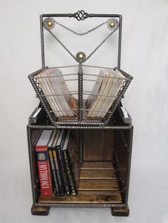 Mossy's Magazine Rack & Book Shelf. mossysmostwanted.com Modern Industrial Furniture, Old Car Parts, Old Oak Tree, Magazine Rack, Furniture Design, Art Pieces, Shelf, Book, Shelving