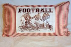 Vintage Football players  French Ticking by JulieButlerCreations, $25.50