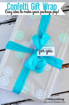 Confetti Gift Wrap Idea from @30daysblog - easy idea to make your package pop!