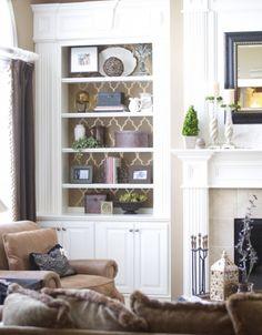 Stenciled bookshelf by Home Crush Blog