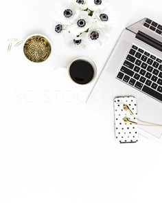 product styling, prop styling, and photography by Shay Cochrane | www.shaycochrane.com | black and white desk, polka dots, gold details, beautiful workspace, office, blogger images, blogger stock