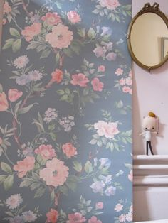 ann es 1950 vintage wallpaper papier peint floral p ches. Black Bedroom Furniture Sets. Home Design Ideas