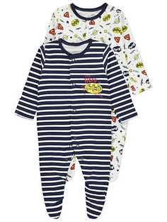 Get Mummy's little superhero excited for bedtime, with this pack of 2 sleepsuits in assorted superhero logo print designs. The soft pure cotton fabric will s...