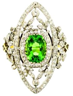 Antique green garnet and diamond dress ring, circa 1905