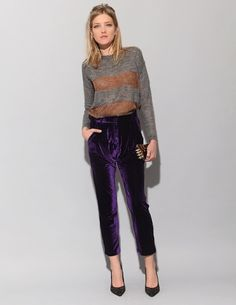 """Ay Not Dead  $138    Ay Not Dead violet velvet pants with slanted side pockets and tapered hem. 100% polyester. 36"""" long.  Ayd3888"""